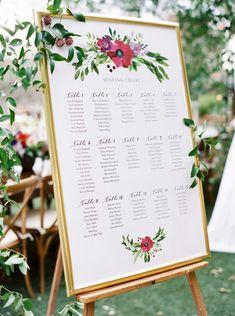Vibrant Jewel-Toned Winter Wedding ~ pretty seating chart