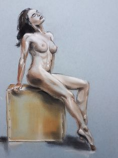 Posing nude on wooden cube - pastel (2021) Wooden Cubes, My Arts, Pastel, Nude, Statue, Cake, Crayon Art, Sculptures, Melting Crayons