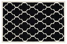 One Kings Lane - Power Palette - Alaric Dhurrie, Black/Ivory