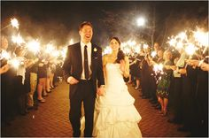 Wedding send off with sparklers....Totally doing this at your wedding Libby!