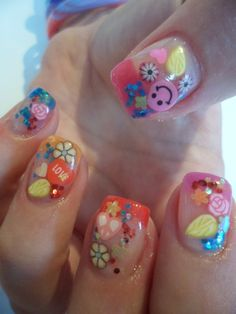 Colorful Gel Nails for little girls