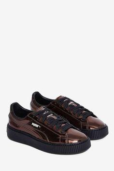 466d9cb425b PUMA Basket Platform Metallic Sneaker - Pewter Black Leather Sneakers