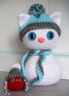 Amigurumi Winter Cat and Red Bird pattern by The Enchanted Ladybug