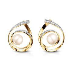 Brinco em ouro amarelo 18k, 12,6 pts de diamantes e 2 pérolas - Coleção Fitas High Jewelry, Pearl Jewelry, Pendant Jewelry, Jewelry Sets, Gold Jewelry, Jewelery, Jewelry Accessories, Jewelry Design, Small Earrings