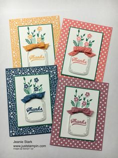 handmade thank you notecard set created by Jeanie Stark ... canning jars with wildflowers and a bow ... each one a different monochromatic color ... Stampin' Up!