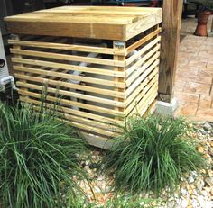 "Husband built a nice wooden slatted ""box"" to cover our pool pump.  Top removable, front hinged for easy access.  Love!"