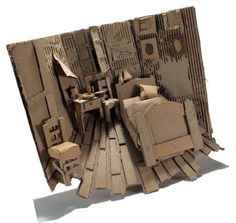 Diorama of a famous artwork interior using only found cardboard, scissors and glue. Based on Bedroom in Arles by van Gogh Sculpture Lessons, Sculpture Projects, Sculpture Art, 3d Art Projects, Sculpture Ideas, Cardboard Sculpture, Cardboard Crafts, Cardboard Painting, Cardboard Design