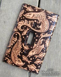 Wood Switchplate Cover  Decorative Fish Pyrography by MotherSpoon, $75.00