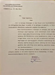 I 1943 havde Lolland-Falsters Telefon-Aktieselskab endnu koncessionen på Bogø. Kilde: Rigsarkivet. Bogø Sogneråd. Ujournaliserede sager. 1842-1968.