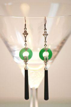 Art Deco Sterling Jade and Onyx Earrings.