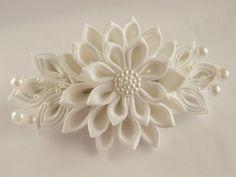 Handmade Kanzashi fabric flower grosgrain ribbon french barrette - hair accessories in UK,shipping worldwide-Bridal wedding bridesmaid hair