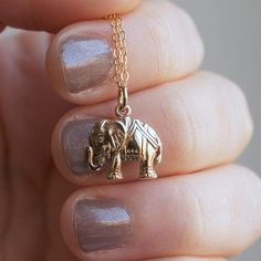 Elephant Necklace  Gold Elephant Pendant  Tiny by sevgicharms, $28.00