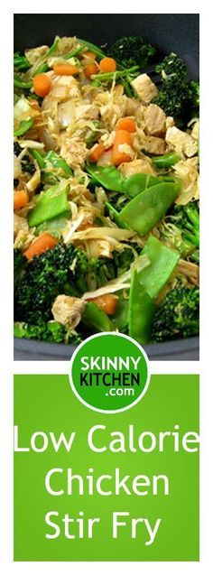 Chicken and Veggies Stir Fry, Low Calorie and Super Yummy! One huge serving has 264 calories, 6g fat & 5 SmartPoints. http://www.skinnykitchen.com/recipes/chicken-and-veggies-stir-fry-low-calorie-and-super-yummy/
