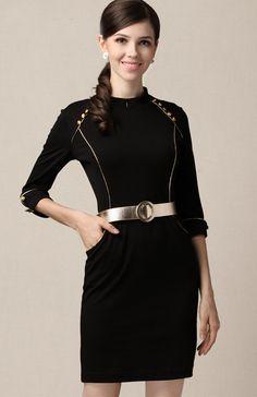 Black High Neck Half Sleeve Pockets Belt Sheath Dress