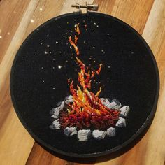 Everything is embroidery ( Simple Embroidery, Hand Embroidery Stitches, Embroidery Hoop Art, Hand Embroidery Designs, Cross Stitch Embroidery, Broderie Simple, Textile Artists, Creations, Camp Fire