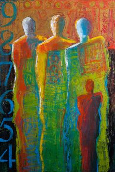 This figurative painting started out as a failed work and turned into one of my favorites. I scraped the old painting and began drawing the three large figures. The small figure was still visible… Painting People, Figure Painting, Painting & Drawing, Art And Illustration, Abstract Expressionism, Abstract Art, Figurative Kunst, Art For Art Sake, Old Paintings