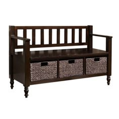 This durable bench is wide enough to comfortably seat 2 people and has under seat basket storage to effectively organize your entryway. The casual look of this bench fits easily into all homes and adds a touch of style in your entryway.