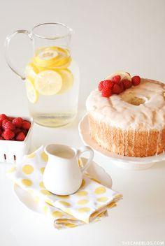 Angel Food Cake with lemon glaze and fresh raspberries    Carrie Sellman for TheCakeBlog.com
