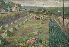 """Evelyn Dunbar, """"Land Workers at Strood"""" oil on canvas (© The Artist's Estate, courtesy of Liss Llewellyn Fine Art) Women's Land Army, Ww1 Art, Kent Coast, Religious Paintings, British Government, Irish Art, Royal College Of Art, Art For Art Sake, English Countryside"""