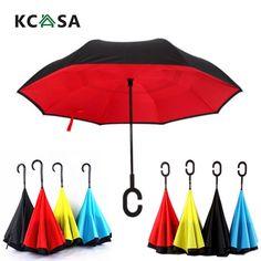 KCASA UB-1 Creative Reverse Double Layer Umbrella Folding Inverted Windproof Car Standing Rain Protection