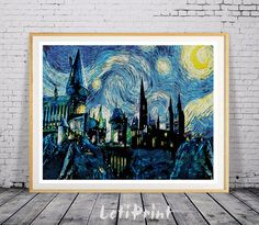 "35 Gifts For Anyone Who Likes ""Harry Potter"" More Than People Hogwarts Starry Night Print Harry Potter Print by LetiPrint Harry Potter Poster, Harry Potter Kunst, Harry Potter Painting, Theme Harry Potter, Harry Potter Bedroom, Harry Potter Gifts, Harry Potter Love, Harry Potter Wall Art, Chateau Harry Potter"