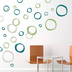 Retro Rings Wall Decals with chairs and a table