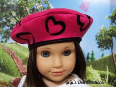 Hot pink with black heart Beret for American Girl Doll Grace or other dolls