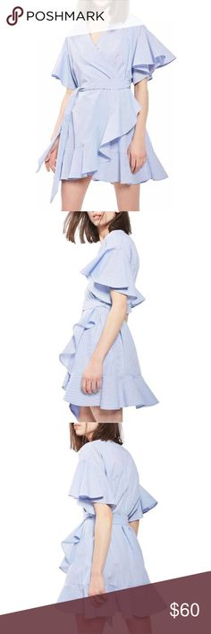✨Flute Sleeve Frill Trim Wrap Dress With Self Tie✨ ✨Season:	Summer Type:	Wrap Pattern Type:	Plain Sleeve Length:	Short Sleeve Color:	Blue Dresses Length:	Short Style:	Sexy, Cute Material:	Polyester Neckline:	V Neck Silhouette:	A Line Decoration:	Ruffle, Belted Shoulder(Cm):	M:57cm Bust(Cm):	M:116cm Length(Cm):	M:82cm Sleeve Length(Cm):	M:18cm Size Available:	M✨ Dresses Mini