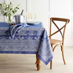 Star of David Jacquard Tablecloth #williamssonoma