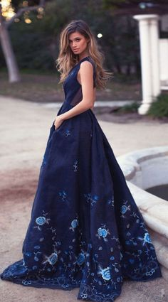 cd7d65e0515 Gorgeous Navy Blue Long Prom Dress with Floral Embroidery