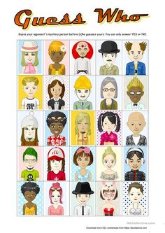 Guess Who with 25 characters worksheet - Free ESL printable worksheets made by teachers worksheet worksheet for kids worksheet student Learning English For Kids, Teaching English, Worksheets For Kids, Printable Worksheets, English Lessons, Learn English, English Class, Speech Therapy Games, Esl Resources
