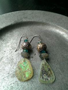 Ancient Roman Glass Tibetan Silver Gemstone by MermaidenCreations