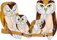 Owl Family Freeform Stained Glass Pattern #StainedGlassOwl