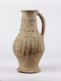 Laverstock, England (made) late century (made) Earthenware with applied and brushed slip decoration and traces of lead glaze Height: 15 in taken from Register Antique Pottery, Handmade Pottery, Ceramic Pottery, Ceramic Art, Earthenware, Stoneware, Medieval, Coil Pots, English Pottery