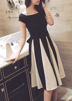 Cutout Design High Waist Bowknot Bow Decorated Dress, white and black dress, make you sweet, don't wait.