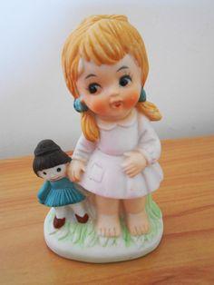 SALE! Cute Big Eye Kitsch Girl Figurine with Dolly