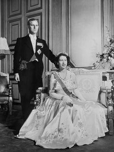 Princess Elizabeth II of England and Philip, the Duke of Edinburgh, posed on their wedding day: Nov. 20, 1947.