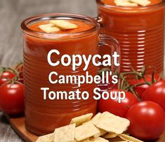 Copycat Tomato Soup tastes way better than opening a can! With homemade, fresh ingredients.you can't beat it! Campbell's Tomato Soup Recipes, Canning Tomato Soup, Canning Soup Recipes, Campbells Soup Recipes, Fresh Tomato Soup, Cream Of Tomato Soup, Canning Tomatoes, Tomato Tomato, Canning Tips