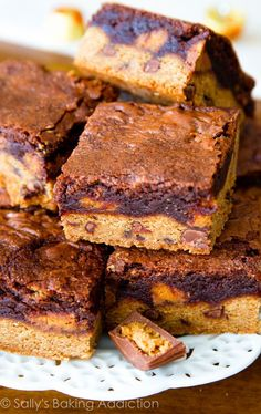 These Fudge Brownie Peanut Butter Cup Cookie Bars are the ultimate dessert bar recipe!