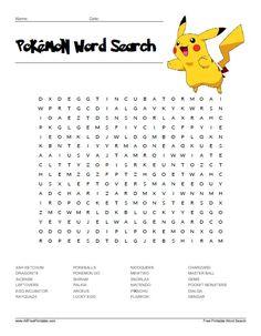 Free Printable Pokemon Word Search