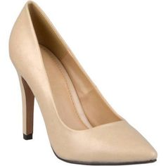 Brinley Co. Womens Wide Width Pointed Matte Finish Pumps, Women's, Size: 8.5, Beige