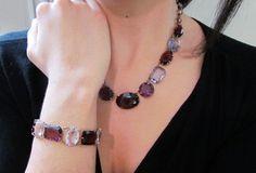 Antique Art Deco Amethyst Glass Stone Bracelet by LUXXORVintage, $125.00