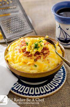 Easter Dinner Recipes, Brunch Recipes, Breakfast Recipes, Brunch Dishes, Homemade Breakfast, Side Recipes, Best Creamy Grits Recipe, Savory Grits Recipe, Corn Grits
