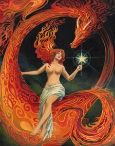 Dragon Goddess  A print of the original oil painting by Emily Balivet, 2014.    Printed on archival quality matte photo paper, the print measures
