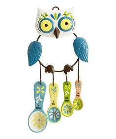 Too cute!  #zulily! Floral Owl Measuring Spoon Set #zulilyfinds