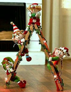 Holiday Lighted Decorative Elf Ladder With 4 Elves Christmas Home Decoration Unique Christmas Trees, Decoration Christmas, Outdoor Christmas, Beautiful Christmas, Christmas Tree Decorations, Christmas Home, Christmas Holidays, Christmas Ornaments, Christmas Sewing