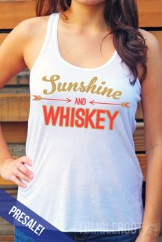 Cute country girl tank top- Sunshine and Whiskey- perfect for a girls night out with your cowboy boots at a honky tonk! Or the perfect addition to your stagecoach outfit! // tumbleroot.com