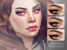 The Sims Resource: Rose Eyeliner N39 by Pralinesims • Sims 4 Downloads