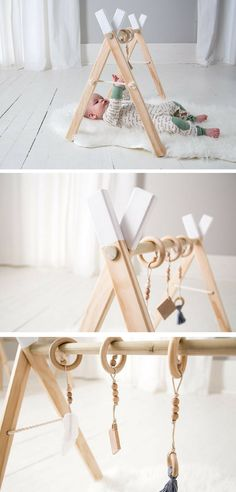 This mobile is simple and beautiful. I love that it is made out of wood. #commissionlink #baby #mobile #simple #wood #scandinavian #babygym #play #activity