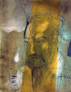 Antoni Tapies ~ Portrait of the Painter Joan Abello (watercolor and ink on paper)